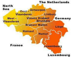 Visit BELGIUM, with FLANDERS: region on the North, WALLONIA: region on the South, and BRUSSELS as capital.